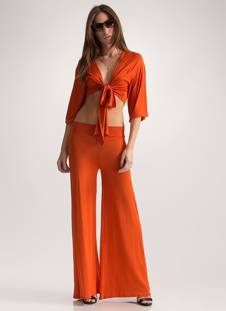 Flow Along Tied Two-Piece Jumpsuit RUST