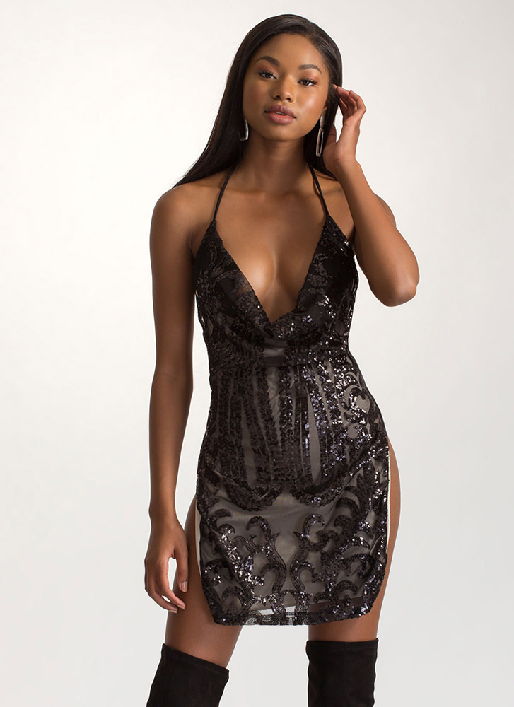 Deep Thought Sequined Halter Dress BLACK