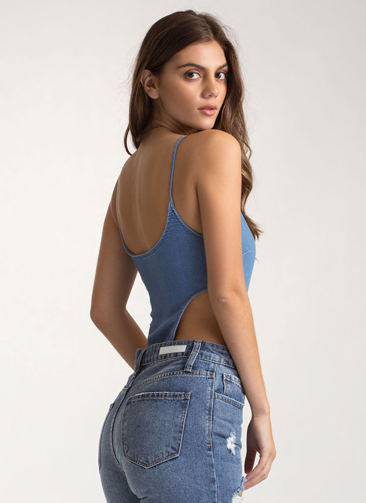 Contact High Chambray Cami Bodysuit BLUE