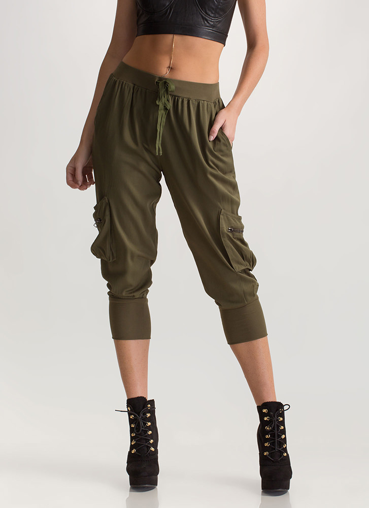 Precious Cargo Cropped Jogger Pants OLIVE