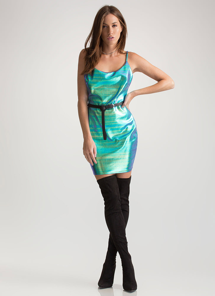 Shiny Oil Slick Cami Mini Dress GREEN