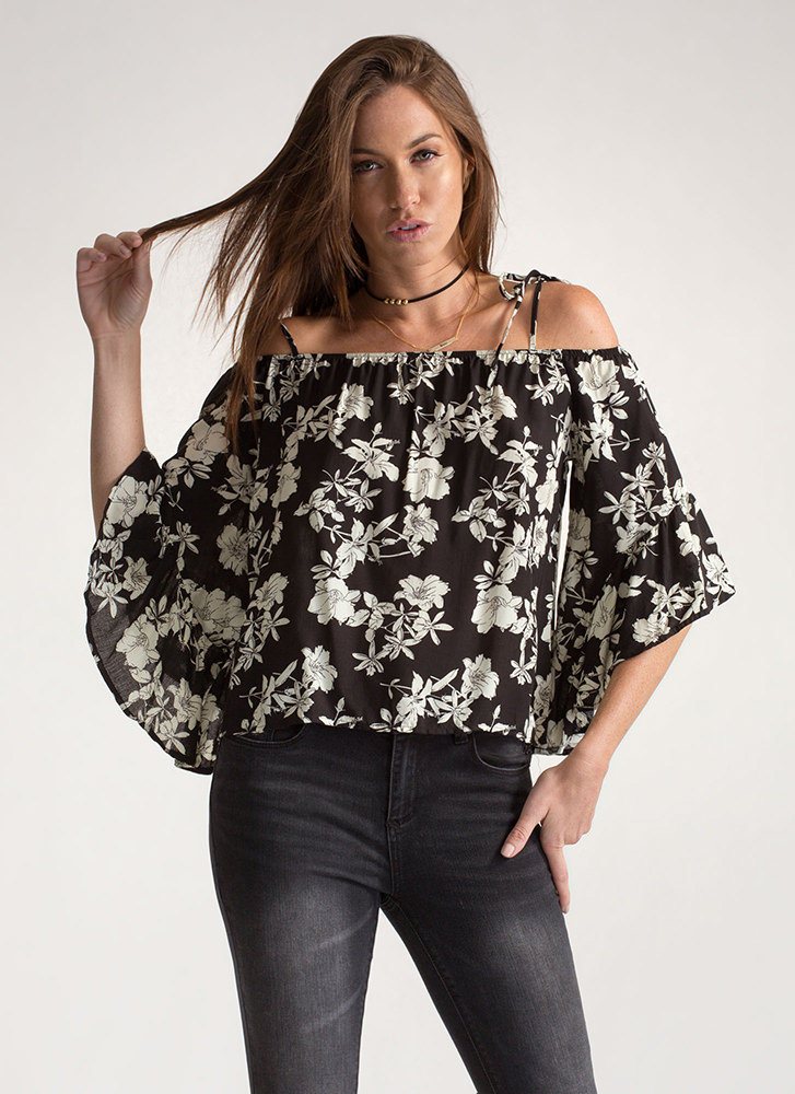 Floral Compass Ruffled Off-Shoulder Top BLACK