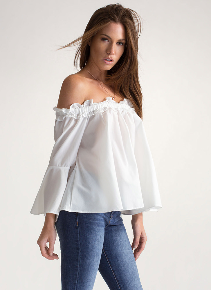 Chic Paradise Ruffled Off-Shoulder Top OFFWHITE