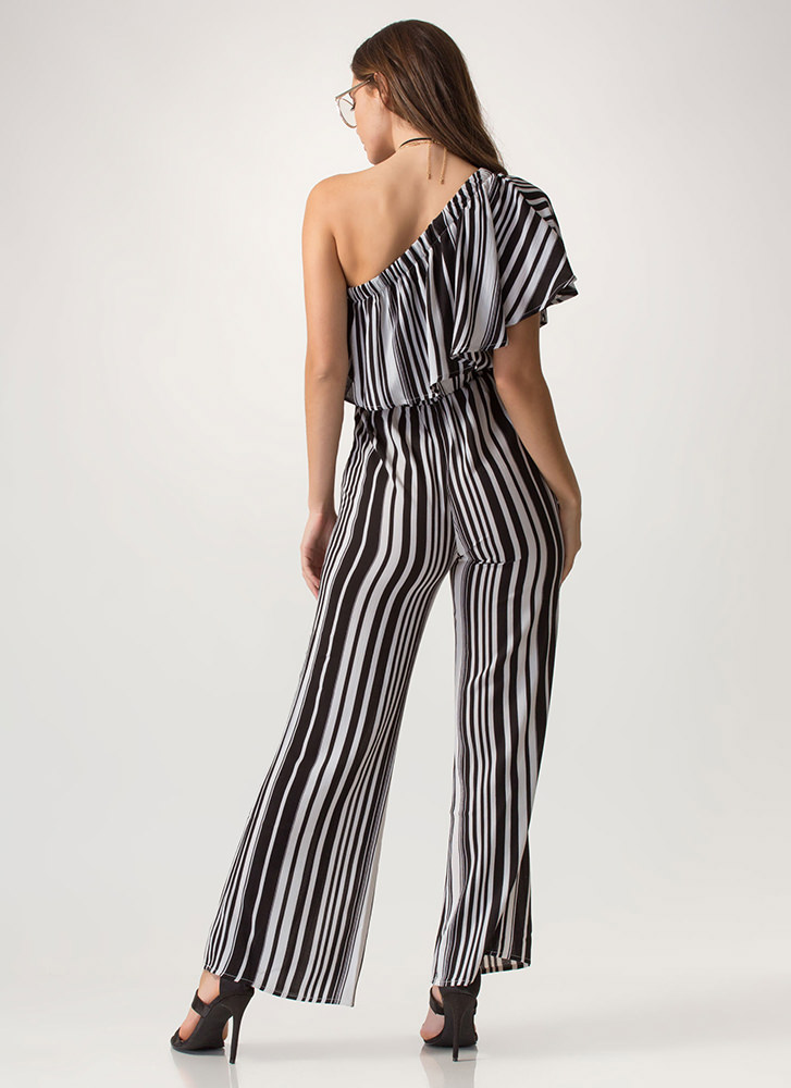 One Love Striped Palazzo Jumpsuit BLACKWHITE