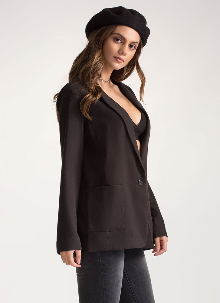 Out Of Office Single Button Blazer BLACK