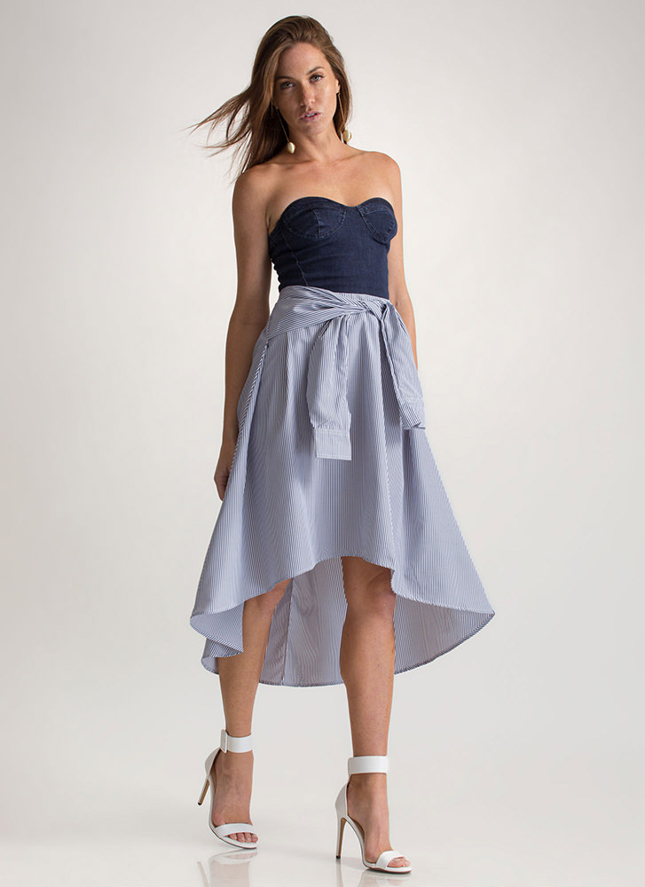 Up Your Sleeve Striped High-Low Skirt DKNAVY