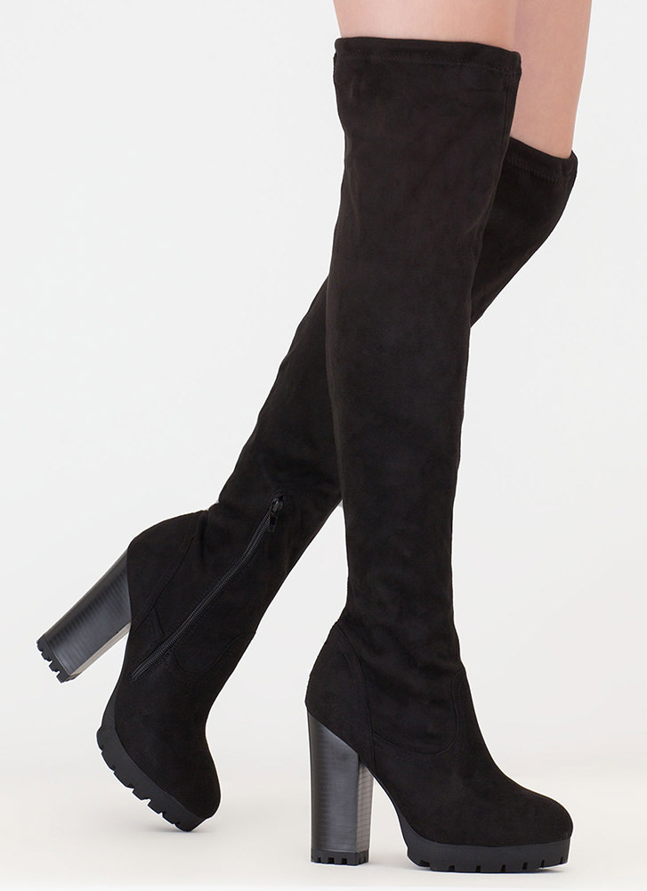 Where Is The Lug Chunky Thigh-High Boots BLACK