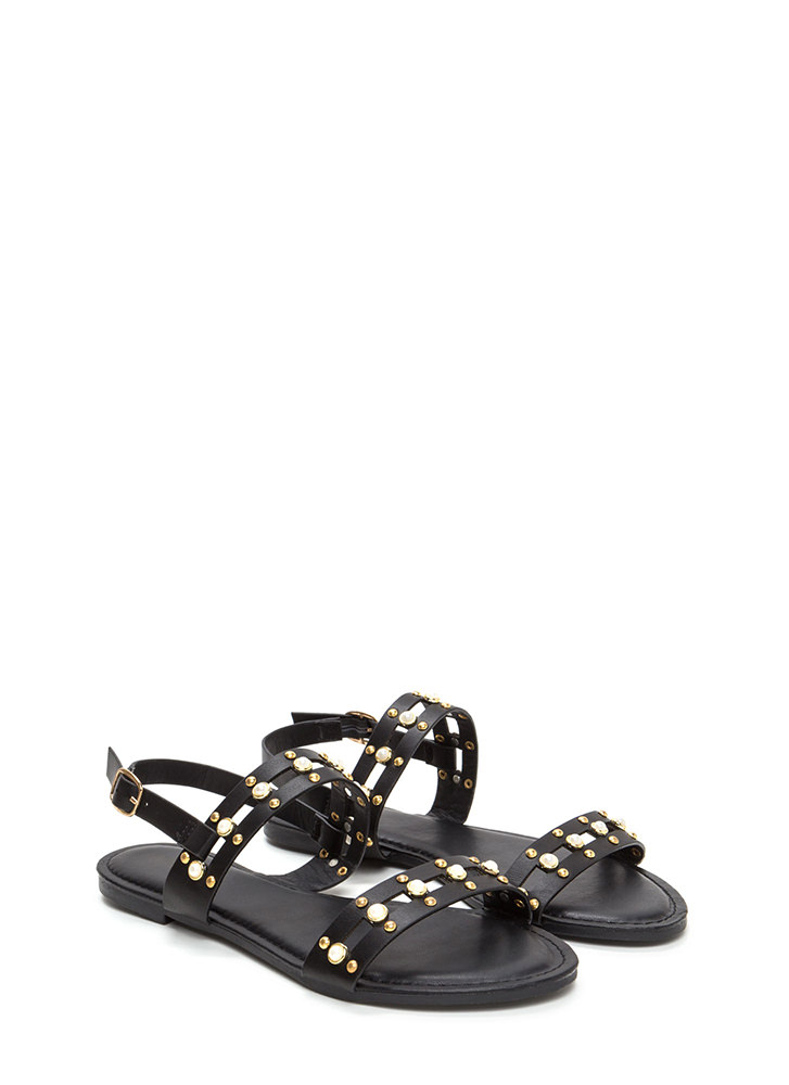 Pearly Greats Strappy Studded Sandals BLACK
