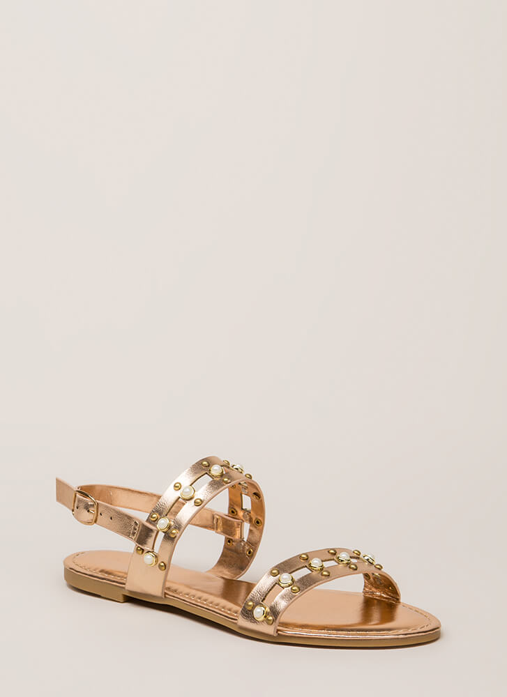 Pearly Greats Metallic Studded Sandals ROSEGOLD
