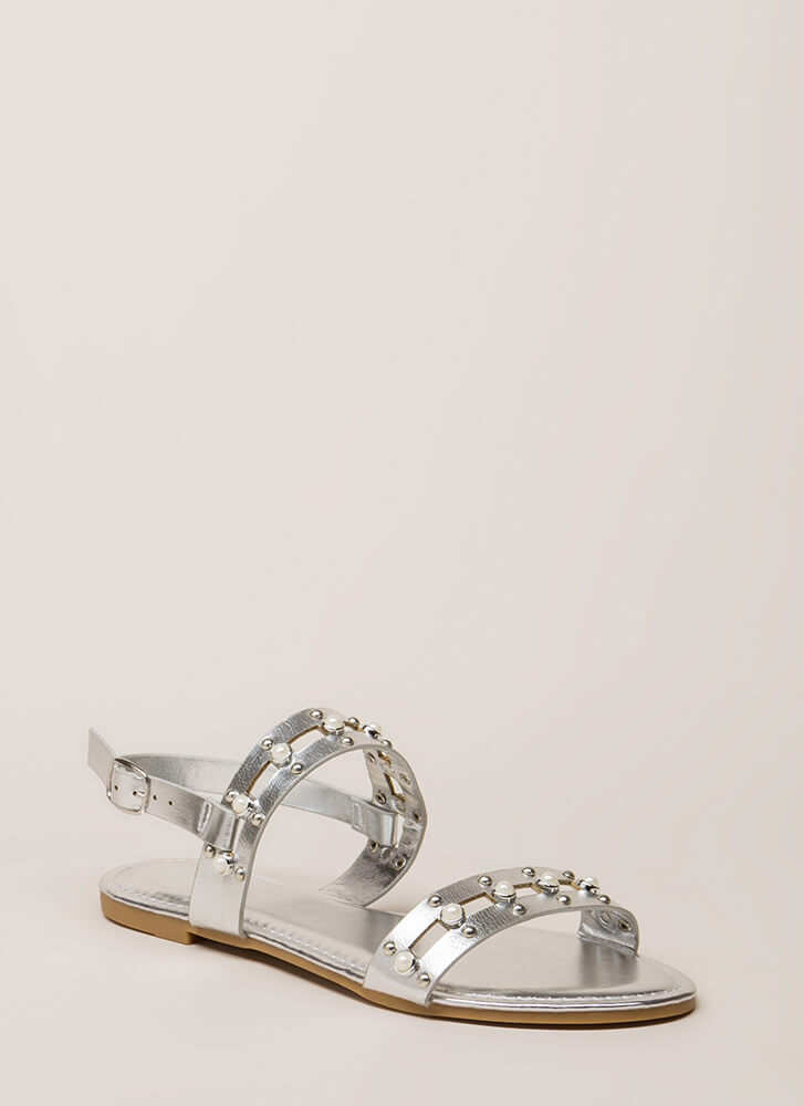 Pearly Greats Metallic Studded Sandals SILVER