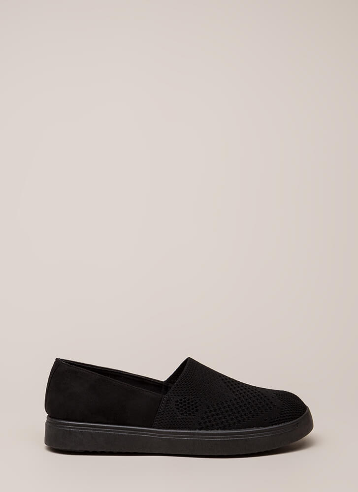 Knit List Faux Suede Slip-On Sneakers BLACK
