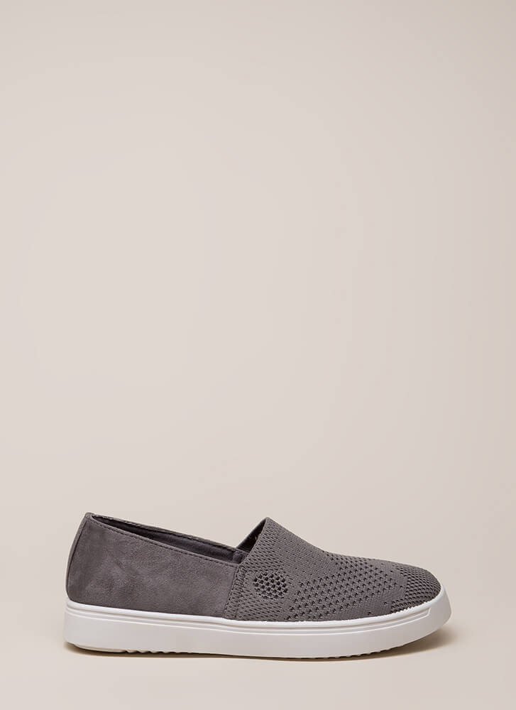 Knit List Faux Suede Slip-On Sneakers GREY