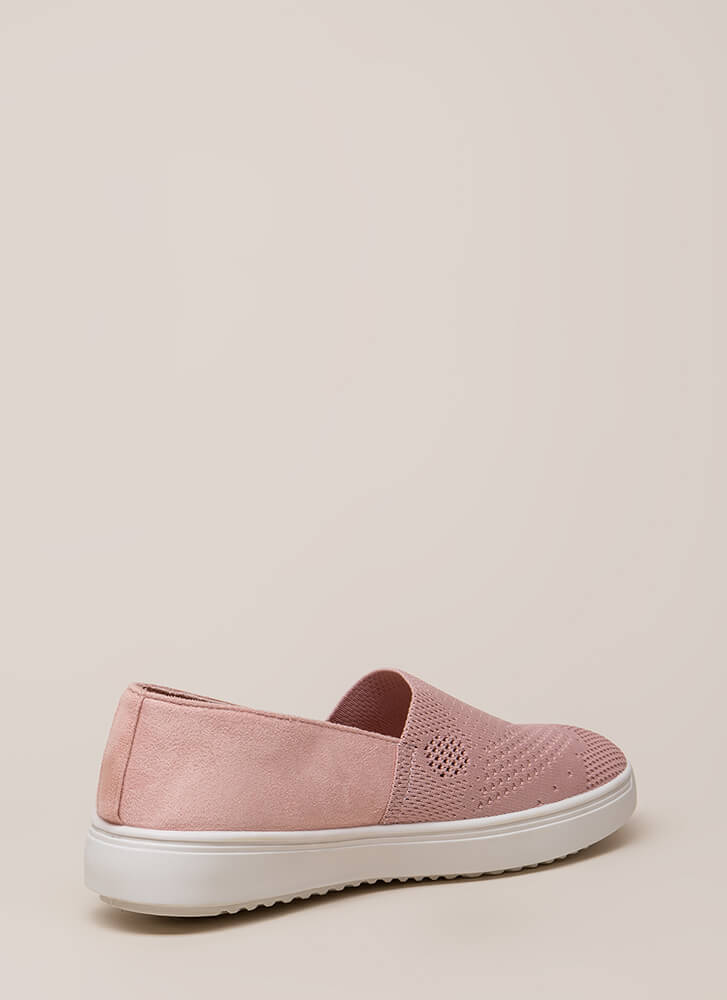 Knit List Faux Suede Slip-On Sneakers MAUVE