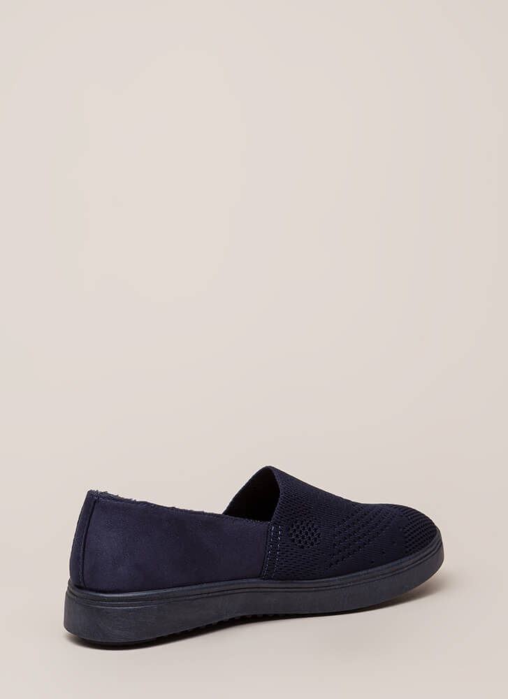 Knit List Faux Suede Slip-On Sneakers NAVY