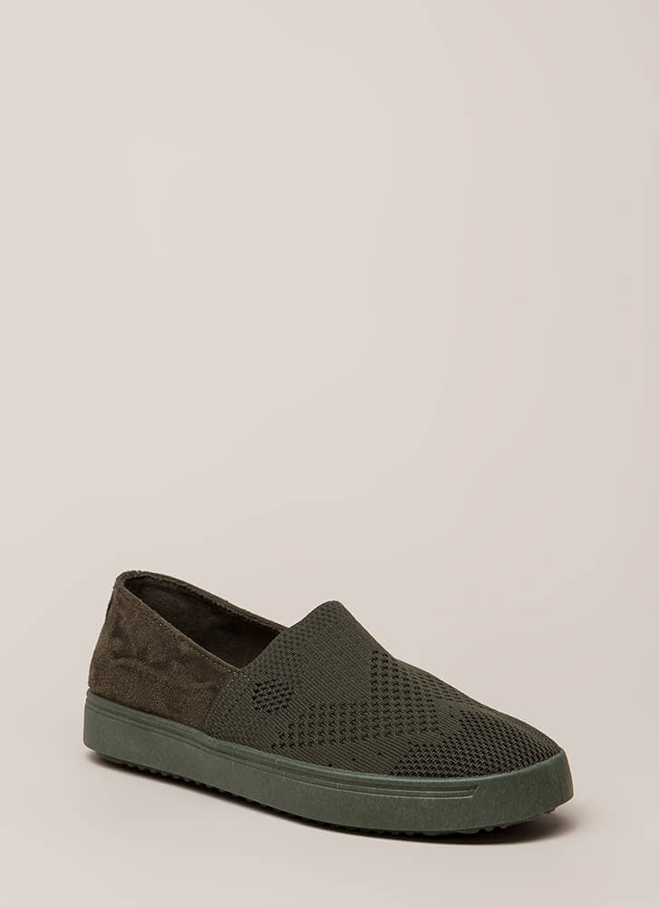 Knit List Faux Suede Slip-On Sneakers OLIVE