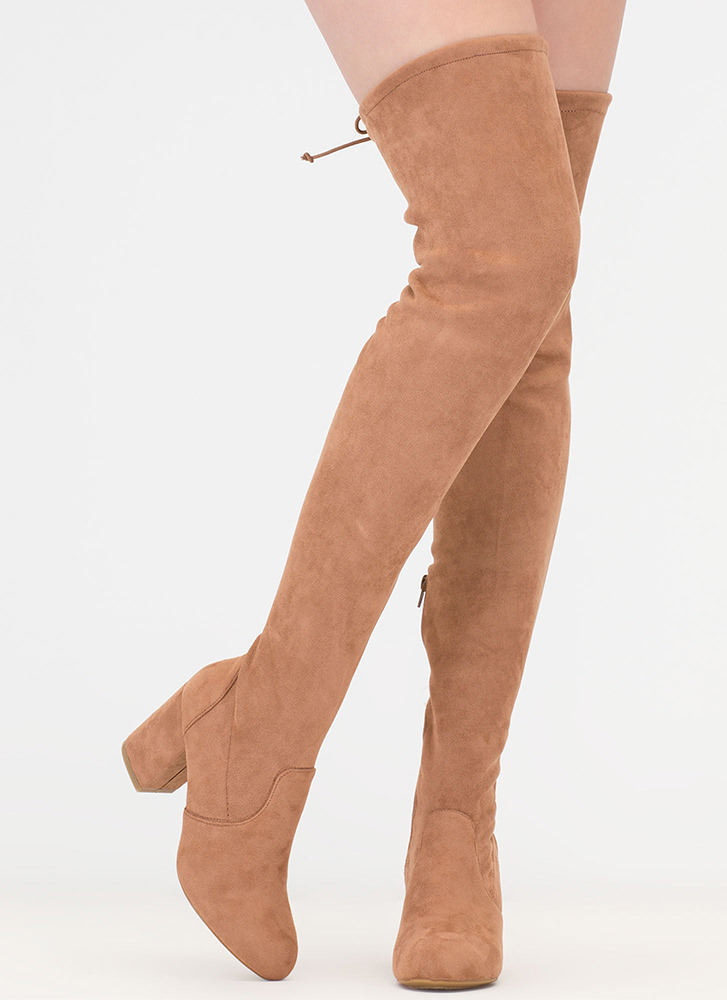Block Solid Drawstring Thigh-High Boots CAMEL