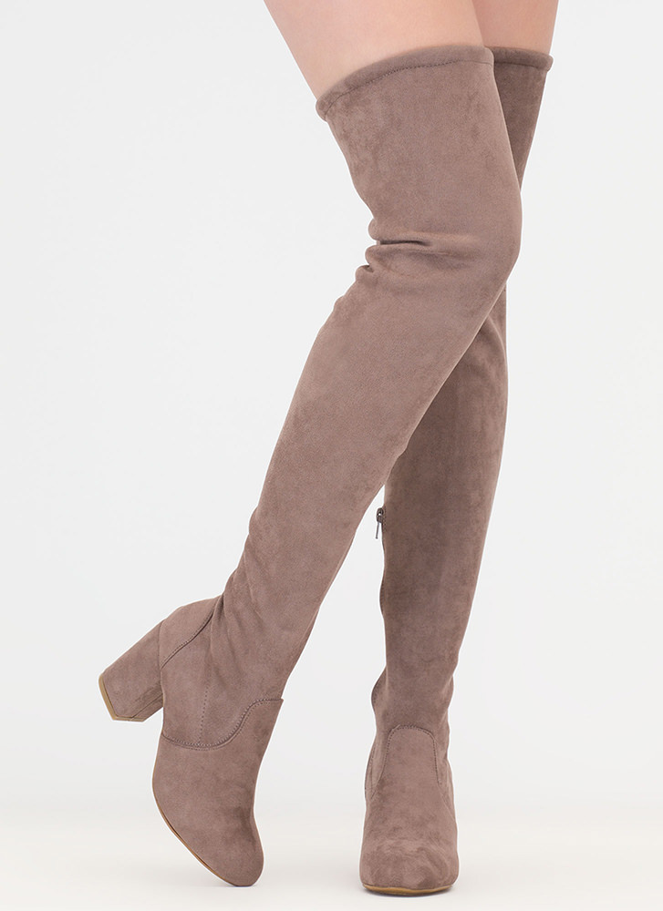 Block Solid Drawstring Thigh-High Boots TAUPE