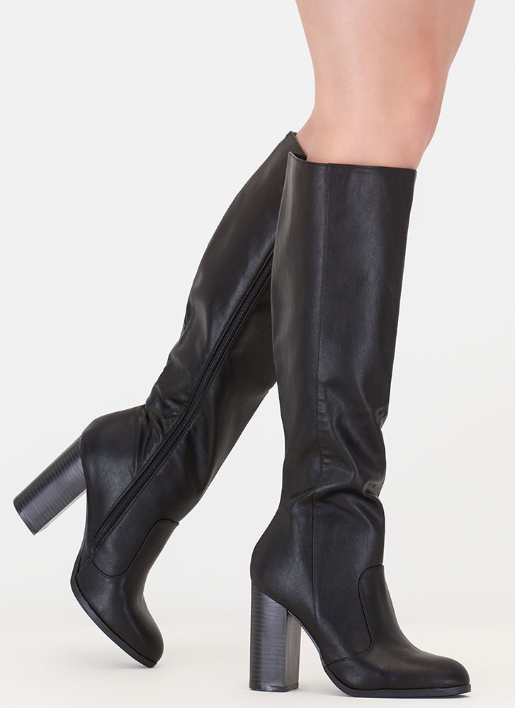 Fall For It Chunky Faux Leather Boots BLACK