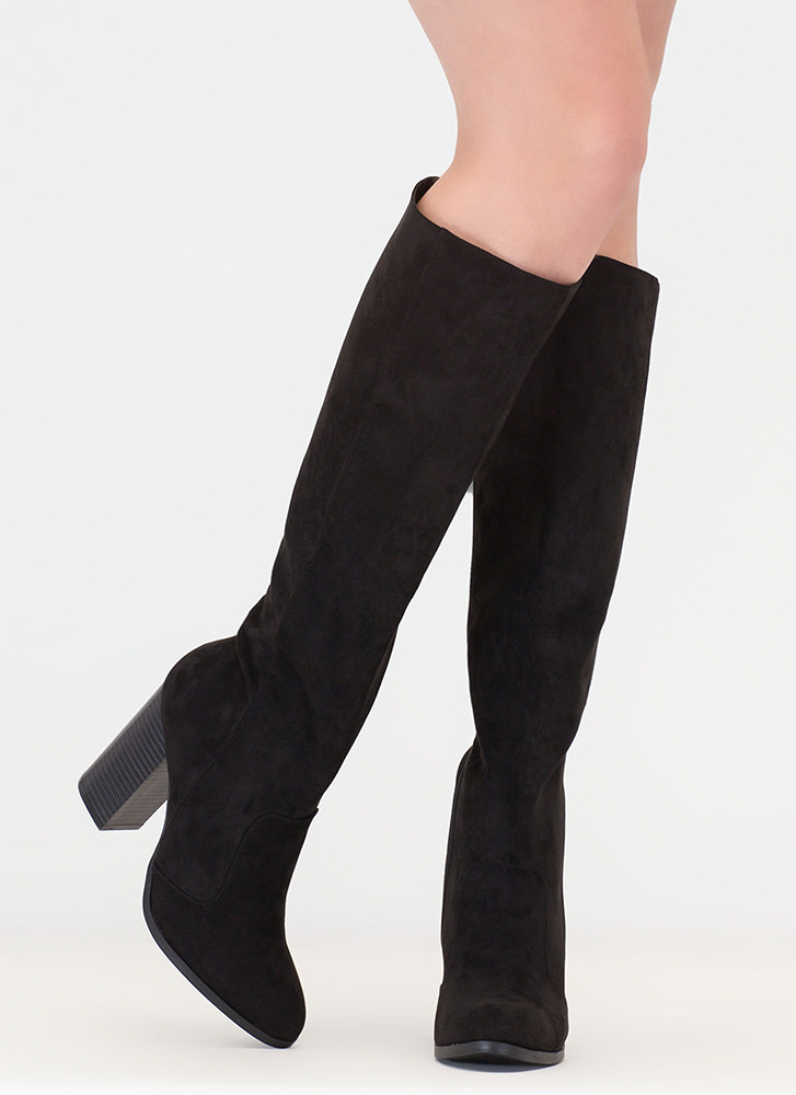 Fall For It Chunky Faux Suede Boots BLACK