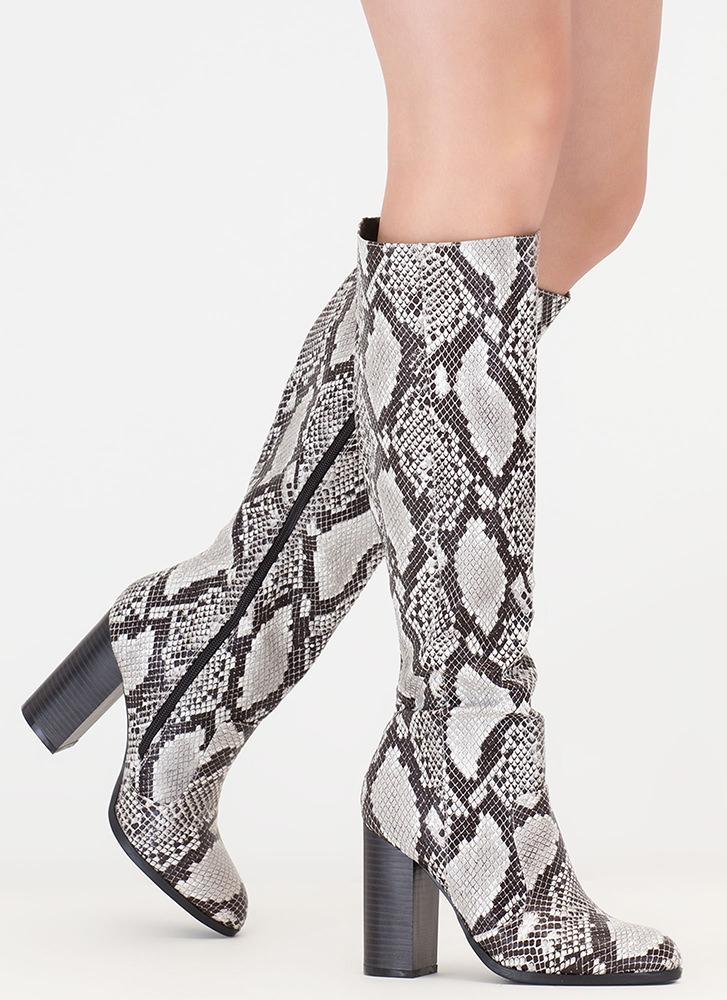 Fall For It Chunky Snake Scale Boots BLACK