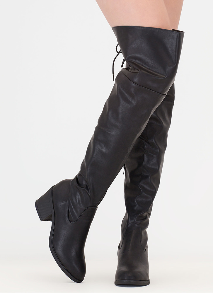 Back At It Faux Leather Thigh-High Boots BLACK