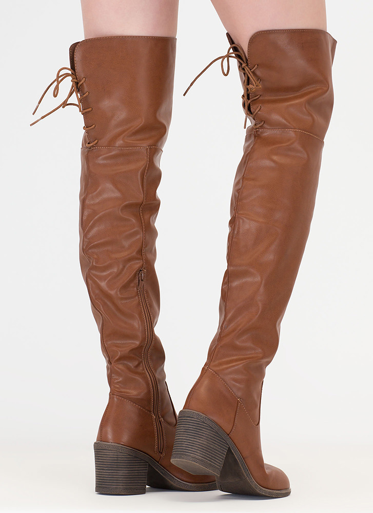 Back At It Faux Leather Thigh-High Boots CHESTNUT