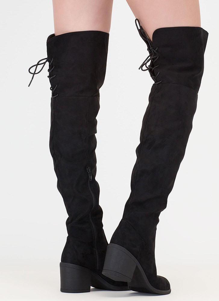 Back At It Faux Suede Thigh-High Boots BLACK