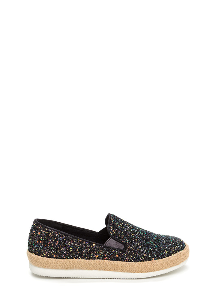 Glitz A Hit Braided Platform Sneakers BLACK