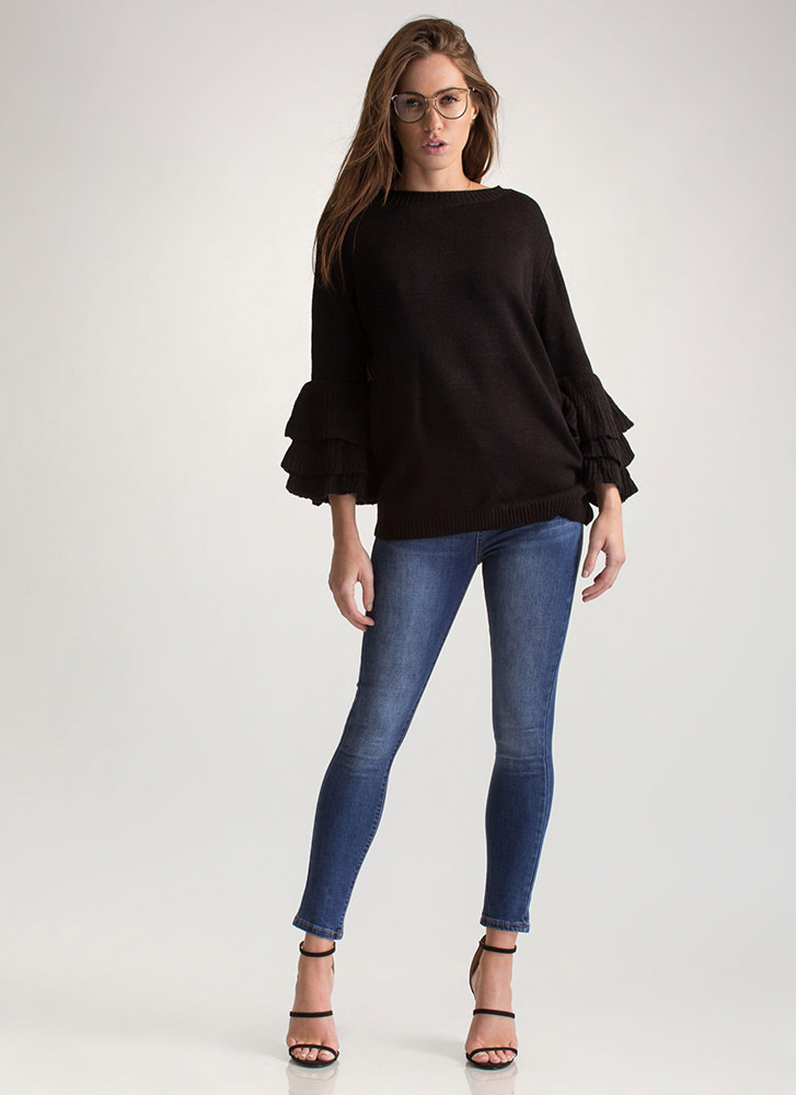 Such A Frill Ruffled Knit Sweater BLACK