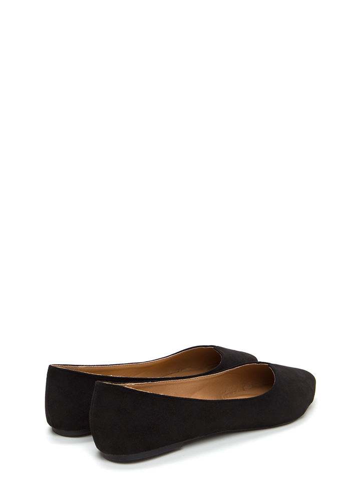 Up A Notch Pointy Faux Suede Flats BLACK