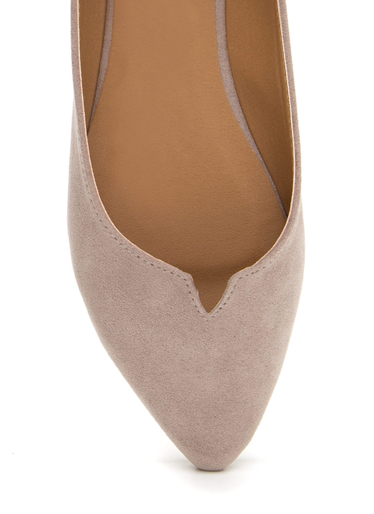 Up A Notch Pointy Faux Suede Flats TAUPE