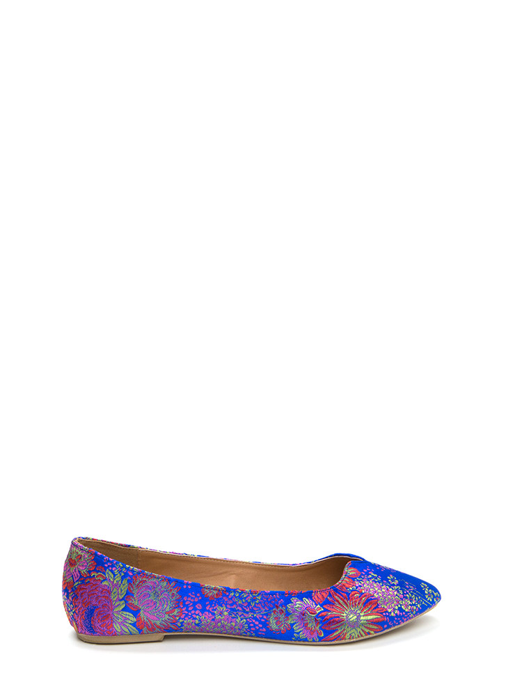 Up A Notch Pointy Embroidered Flats BLUEMULTI