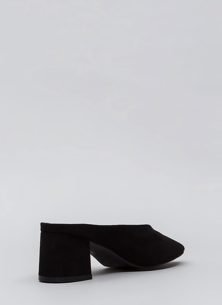 Around The Block Chunky Mule Heels BLACK