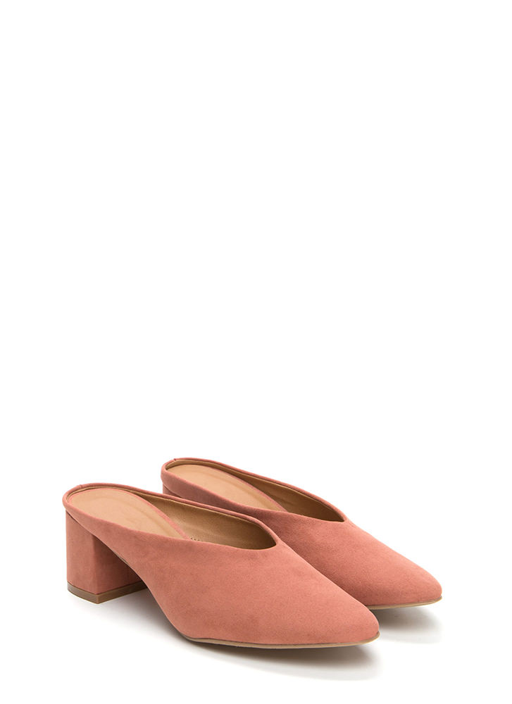 Around The Block Chunky Mule Heels DUSTYBLUSH