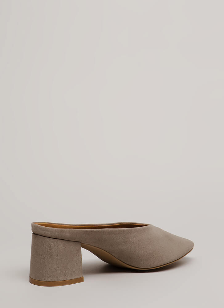 Around The Block Chunky Mule Heels GREY
