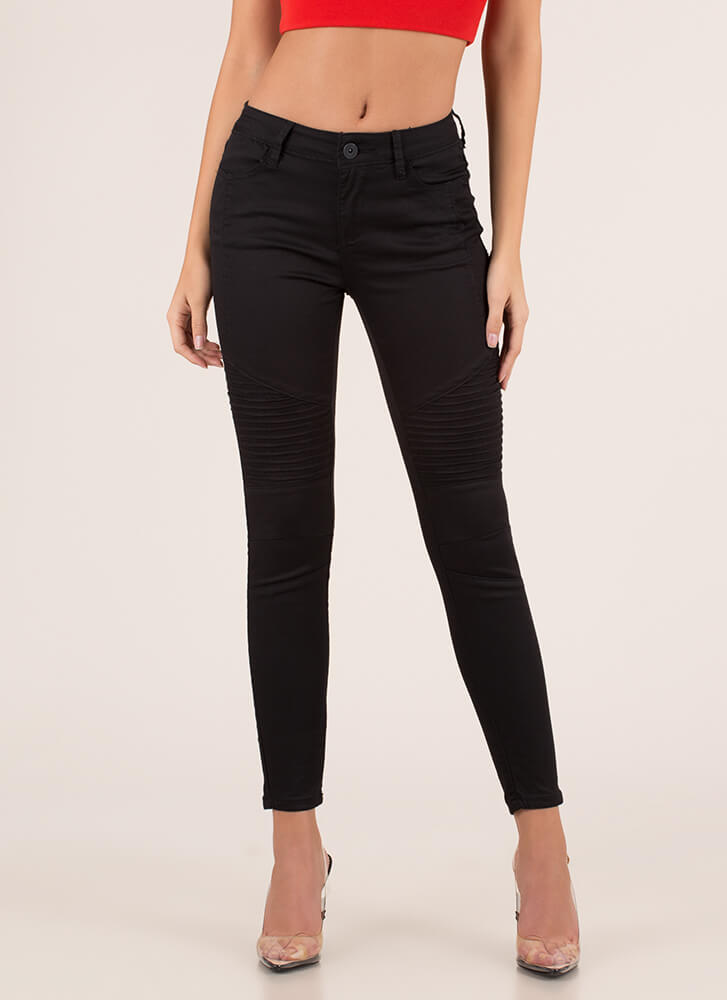 Moto Babe Textured Skinny Jeans BLACK
