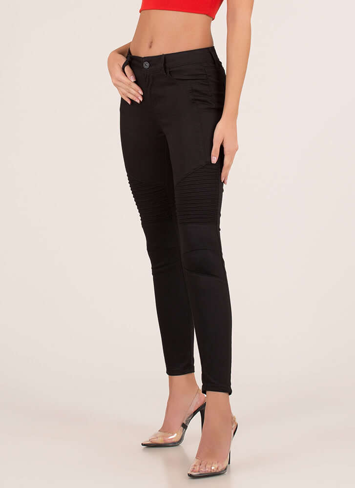 Moto Babe Textured Skinny Jeans BLACK (You Saved $14)