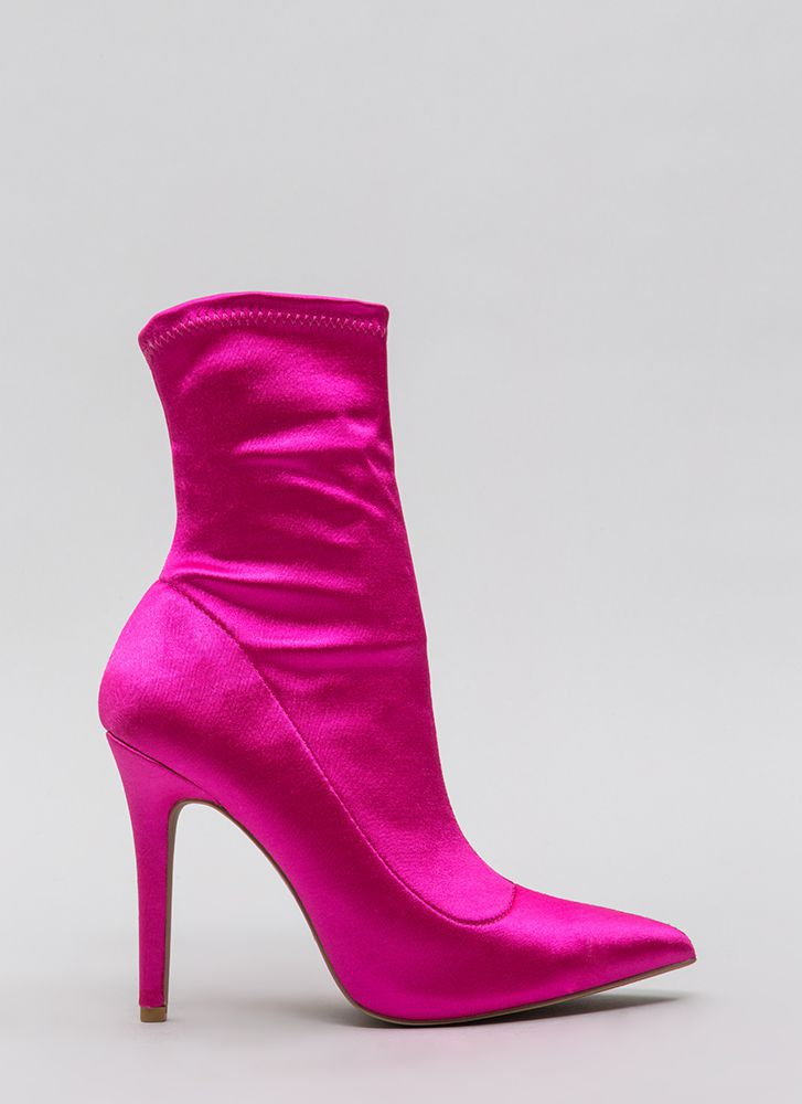 Stretch The Rules Pointy Lycra Booties FUCHSIA
