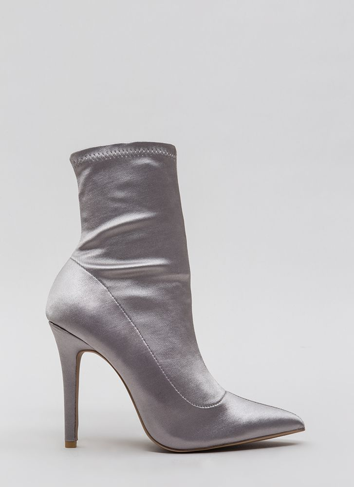 Stretch The Rules Pointy Lycra Booties SILVER