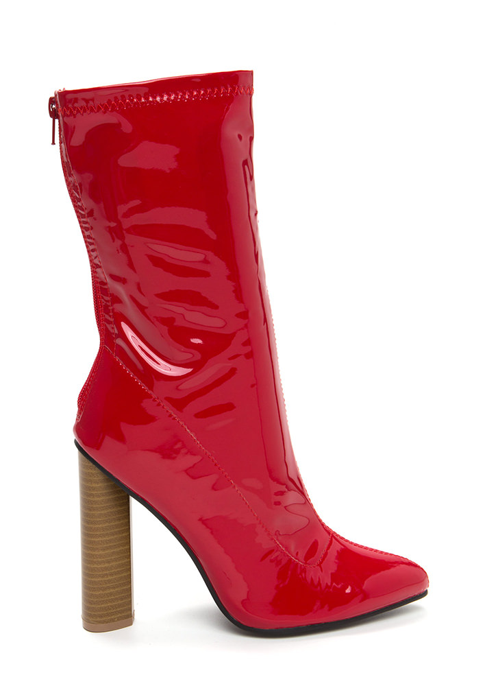 Point To The Faux Patent Booties RED
