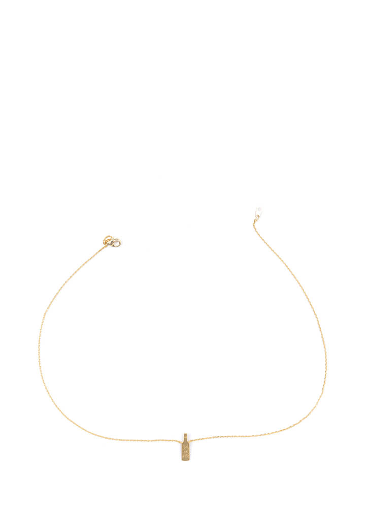 Wine Not Dainty Charm Necklace GOLD