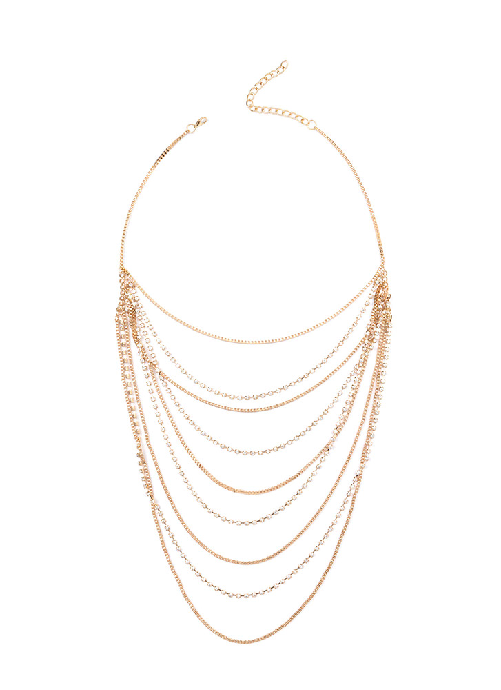 Off The Chain Layered Jeweled Necklace GOLD