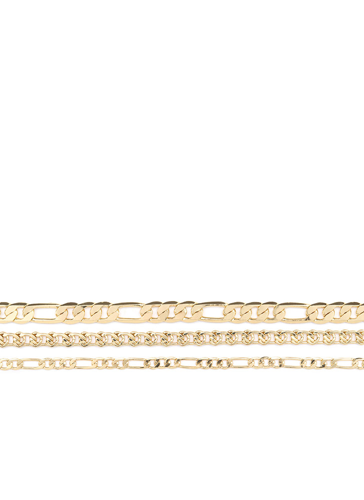 Triple Threat Layered Chain Necklace GOLD