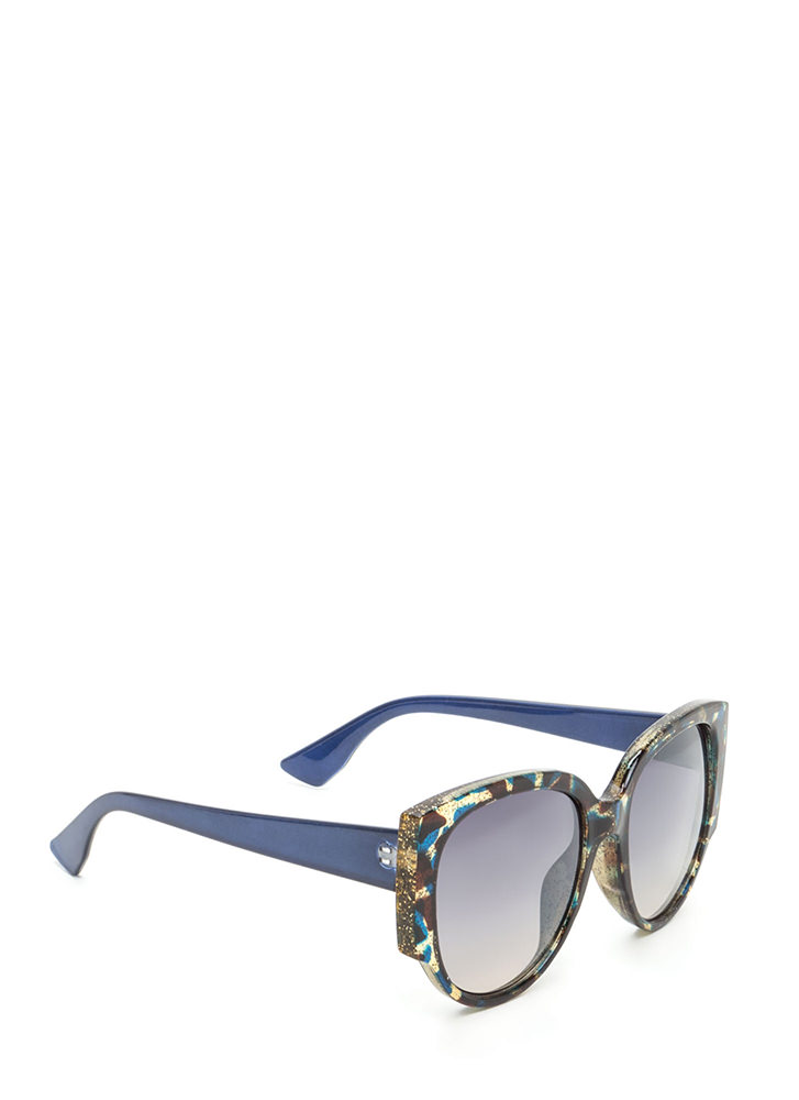 Retro Babe Rounded Sunglasses NAVY