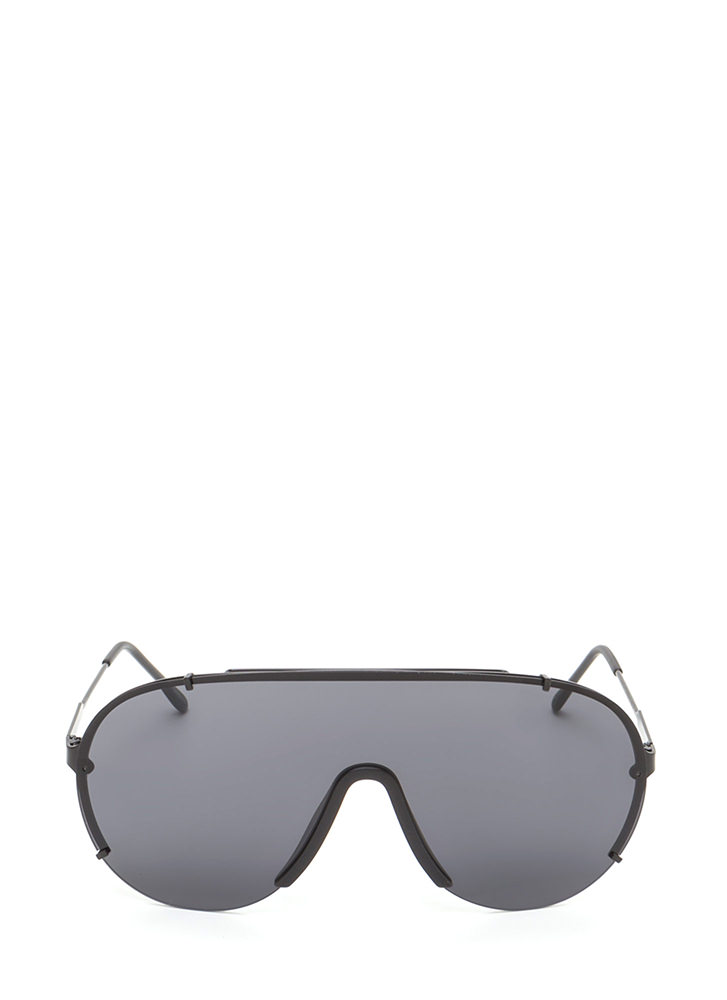 Sleek Perspective Shield Sunglasses BLACKBLACK