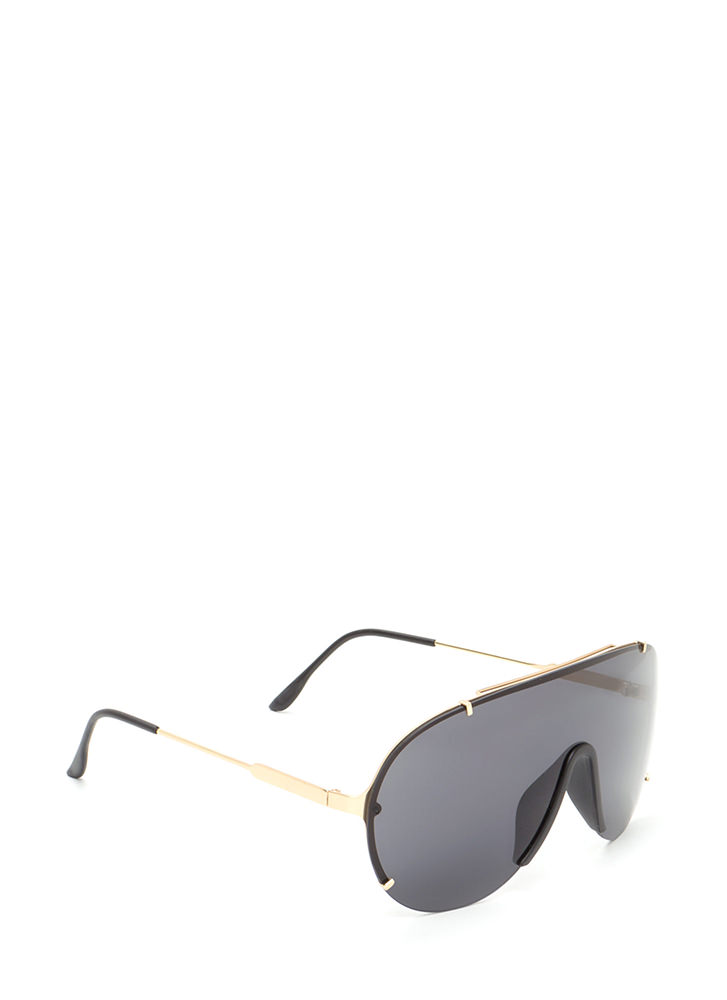 Sleek Perspective Shield Sunglasses BLACKGOLD