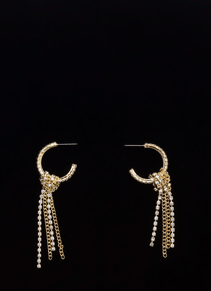 Sparkly Masterpiece Fringe Hoop Earrings GOLD