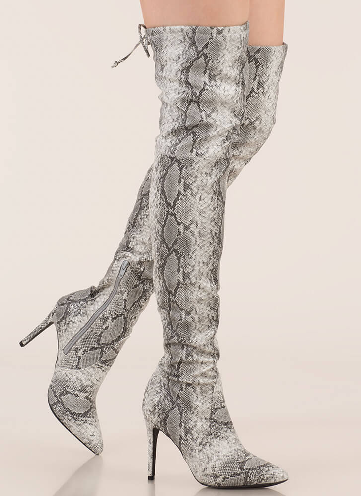 Snake Out Drawstring Thigh-High Boots GREY