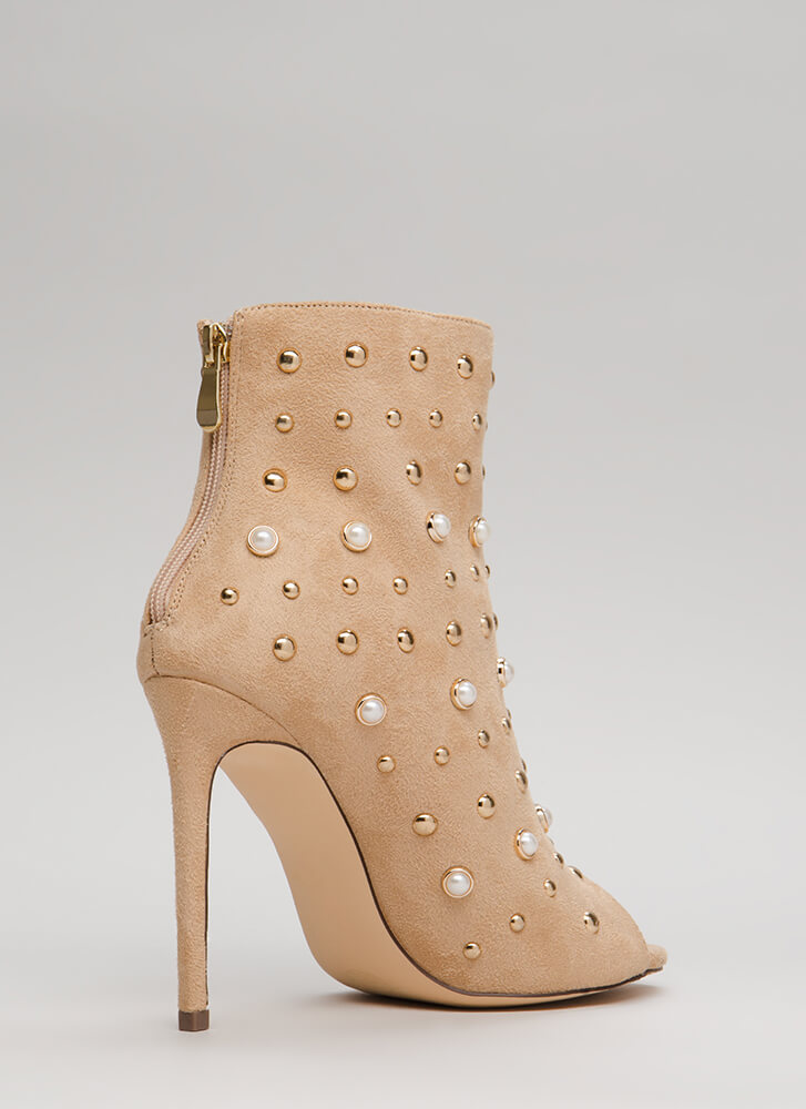 Pearls Or Studs Faux Suede Booties NUDE
