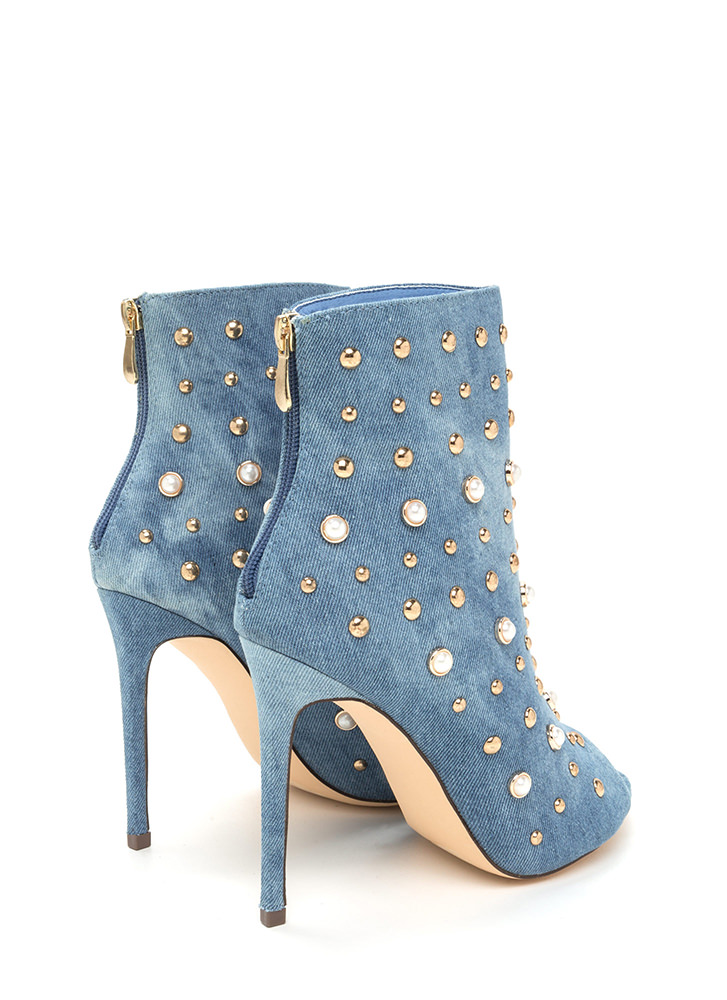 Pearls Or Studs Washed Denim Booties BLUEWASH
